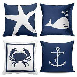 Emvency Set of 4 Throw Pillow Covers Nautical Navy Blue and