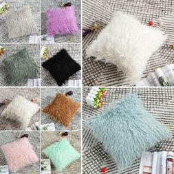 Soft Plush Shaggy Faux Fur Square Throw Pillow Cover for Sof