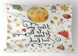 Lunarable Star Pillow Sham, I Love You to The Moon and Back