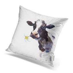 Emvency Throw Pillow Covers Watercolor Cow A Daisy Flower In