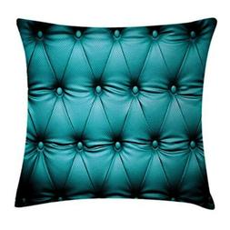 Lunarable Turquoise Throw Pillow Cushion Cover, Buttoned Cou