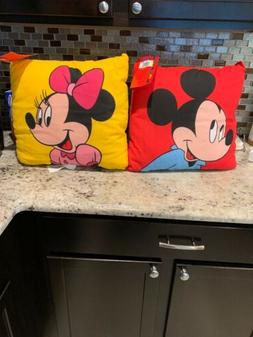 """Two Mickey & Minnie Throw Pillows  Red And Yellow 16"""" x16"""""""