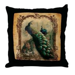 vintage elegant peacock french floral throw pillow