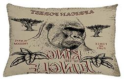 Lunarable Wild Throw Pillow Cushion Cover, Vintage Label wit